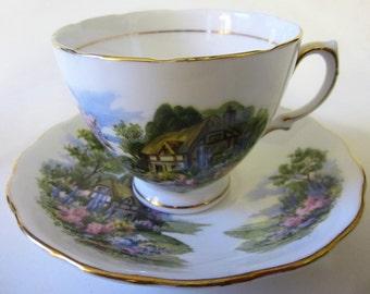 Vintage Bone China Teacup Saucer Demitasse England Royal Vale English Country Cottage Gold Floral Trim  Pedestal Ornate Scalloped Rim
