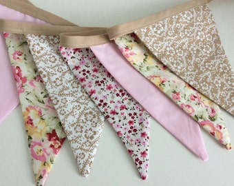 Floral pink bunting - Shabby Chic,  Fabric Garland, Wedding Bunting, last one in this fabric