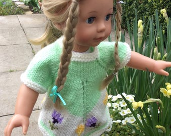 "18"" doll Spring an Easter dress tunic top and headband, AG dolls, gotz,  Designafriend, perfect for an Easter Egg hunt"