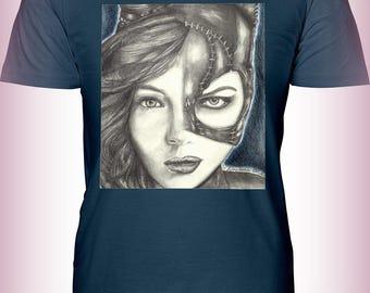 "Portrait T-Shirt : ""9 Lives"" - Camren Bicondova Michelle Pfeiffer Catwoman Selina Kyle Gotham City Batman Villain"