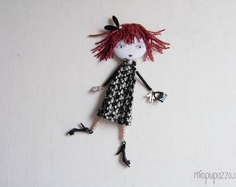 Fashion Girl, Art doll brooch, Personalized gift for her