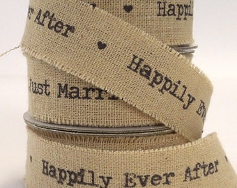 Wedding Ribbon, 22 mm Happily Ever After Linen Ribbon, 7/8 inch Frayed Edge Linen and Cotton Wedding Tape, 2 Metre Length of Ribbon