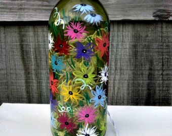 Wine Bottle Light, Night Light, Hand Painted Large Green Wine Bottle, Colorful Flowers
