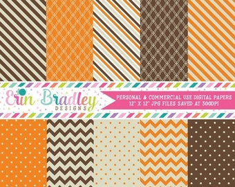 50% OFF SALE Digital Papers Personal and Commercial Use Brown and Orange Medley Instant Download