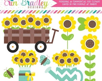 50% OFF SALE Sunflowers Clipart Graphics Wagon Jar Watercan and Sunflower Floral Digital Clip Art Instant Download