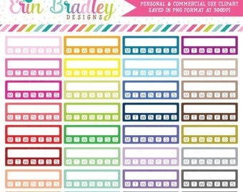 50% OFF SALE Clipart - Habit Tracker with Days Planner Clip Art Graphics Personal & Commercial Use OK