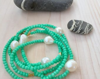 Long Chrysoprase and Freshwater Pearl Necklace