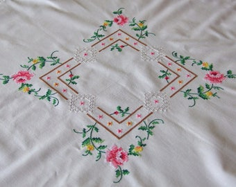Vintage Hand embroidered tablecloth, cross stitch & hemstitch tablecloth, garland of roses embroidery, Easter tablecloth, Polish folk art