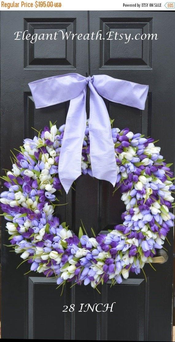 SPRING WREATH SALE Mini Tulip Spring Wreath- 28 inch Tulip Wreath- Spring Wreath for Door