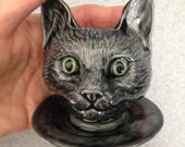 Ceramic Black Cat Doll head Planter with green eyes on Saucer small cat