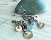Nomadic Talisman Earrings, Spiral Earrings, Bohemian Copper Earrings, with Sterling Silver Ear Wires, Handmade, Blue Kyanite