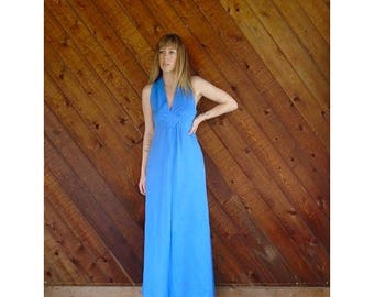 extra 30% off sale . . . Blue Sleeveless Empire Waist Maxi Dress - Vintage 70s - XS/S Petite