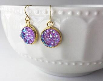Purple Drop Faux Druzy 12mm, Purple Druzy Drop Earring, Gold Druzy Drop Earring, Metallic Earrings, Glitter Drop Earrings