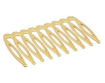 Brass Hair Combs, 50 Raw Brass Hair Combs (59x3mm) A0599