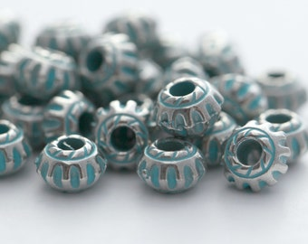 Etched Silver Green Patina Acrylic Saucer Fluted Spacer Beads 7mm (30) Verdigris