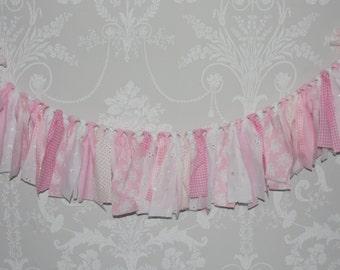 Rag Banner - Raggy bunting - Cake smash Banner - Photo Prop - Rag Tie Bunting - Nursery Bunting Decor -Scrap Fabric Garland - Party Bunting