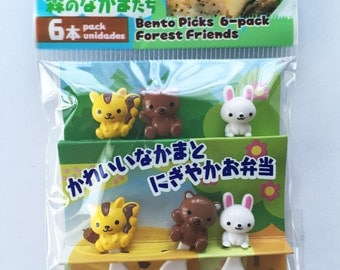 Cute Animal Bento Japanese Mini Forks For Bento Lunch Making / Cupcake Toppers - Set Of 6 - Squirrel, Bear, Bunny Rabbit