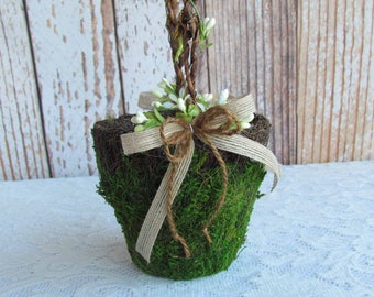 Small Round Moss Flower Girl Basket for your Woodland Wedding