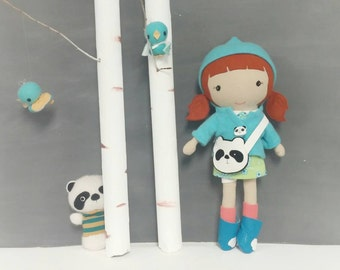 "Handcrafted STUDIO DOLL 15"" - Girl in the Hooded Jacket. Handmade, Doll, Girl, Toy, Plush, Children, Gift, Panda"