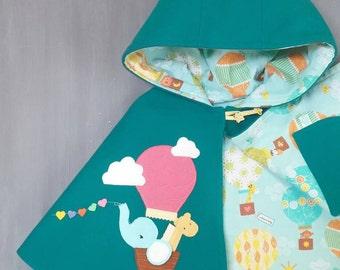 Children Capelet - Elephant, Giraffe,  Wool Cape, Handmade, Girl, Hood, Ready to ship