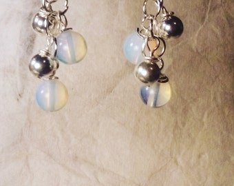 Moon Stone and Silver Cluster Dangle Earrings