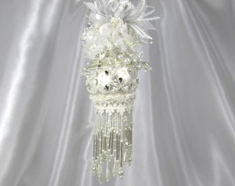 White Pearl and Silver Medium Beaded Victorian Ornament with 154 Swarvoski Crystals and Pearls