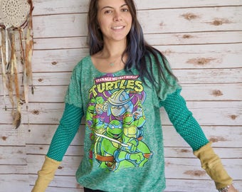 Teenage Mutant Ninja Turtles Polka Dot Sleeve Elastic Waist Tee Top One Size Upcycled Recycled T-shirt Shirt Green 90s