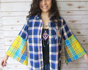 Upcycled Eco Friendly Hippie Bohemian Gypsy Festival Patchwork Plaid Madras Star Bell Sleeve Button up Top Shirt Size Large