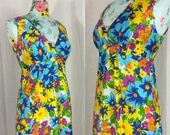 Hawaiian Florals Sleeveless Cotton Maxi Dress Blue Yellow + White Lanz Originals Vintage 1970s Womens XS 32 Bust Tiki Hostess Summer Resort