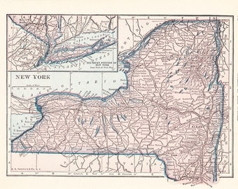 1926 State Map New York - Vintage Antique Map Great for Framing