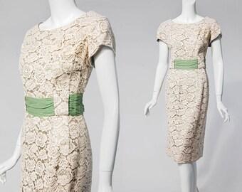 50s ivory lace overlay sage green wiggle dress   size small/medium