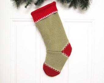 Christmas Stocking Green Stocking Custom Stocking Personalized Holiday Decoration Eco Friendly Felted Wool Sweater Stocking 34