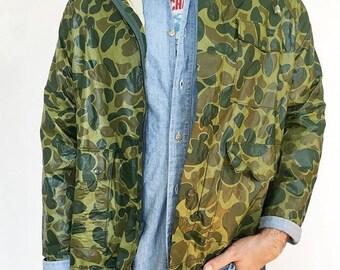 Vintage Camo Rain Coat Anorak Style Army sz. MD