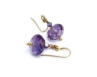 Lustred Amethyst Czech Glass Bead Drop Earrings Handmade Gold filled ear hooks, faceted glass beads, classic