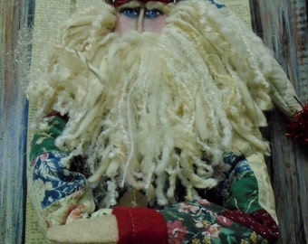 NEW Unique Primitive Santa Claus Tall and Skinny 36 Inch Cupboard Doll Vintage Quilt