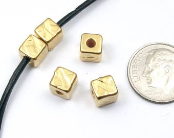 TierraCast Leather Cord Pewter Beads-Bright Gold Rock & Roll Cube 6mm (5 Pcs)