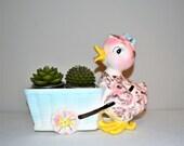 Vintage Kitschy Sweet Duck Planter