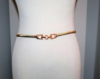 Vintage Belt Gold Snake With Rose Gold Buckle