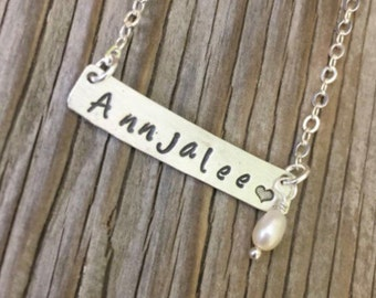 Bar pendant custom handstamped name sterling silver bar necklace personalized gift for her with pearl dangle Christmas mom girlfriend gift