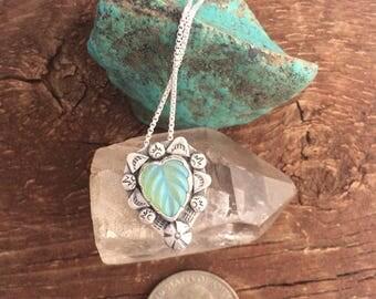Vintage crystal leaf pendant, arora borealis opal glass leaf pendant