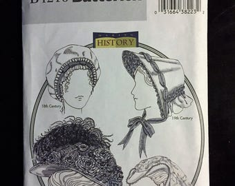 Butterick B4210 Civil War Ladies Bonnet, Victorian Hat, Tudor Hat Costume Sewing Pattern