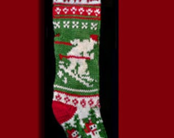 Hand knit Christmas stocking,  Personalized, made of pure wool yarn,  fully lined -- snowman and  skier