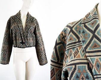90's Flashback Aztec Inspired Southwest Print Crop Batwing Woman's Size M Jacket