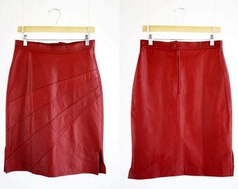 Michelle Brand Vintage Red Hot High Waist Side Slit Zip Back Retro Woman's Leather Pencil Skirt