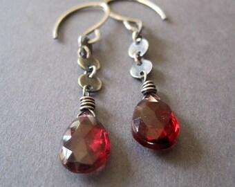 Garnet Dangle Earrings, Sterling Silver Earrings, Dark Red, January Birthstone, Gemstone Jewelry