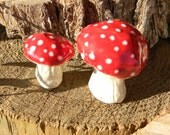 Garden Mushroom Ceramic 2 miniature Statues  Home Grown Ceramic   red    terrarium or in the ground fairy windowsill box