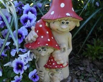 Mushroom Man Family  - FUNGI the  Fun guys   -  3 ceramic mushrooms with faces and smiles red amanita