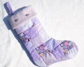 Baby's First Christmas Stocking for Girls in Lavender Personalized Christmas Stocking Lavender Roses Stocking Patchwork Quilted Stocking