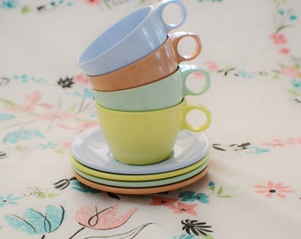 Texas Ware Multi Color Cups and Saucers-Mid Century Flair-Spring Colors-Spring Table Decor