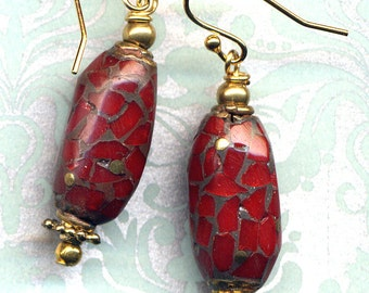 Nepal Beads on18K Gold Filled Wire,Tibet Red Jasper Earrings, Nepal Earrings, Red Earrings, Nepal Jewelry by AnnaArt72